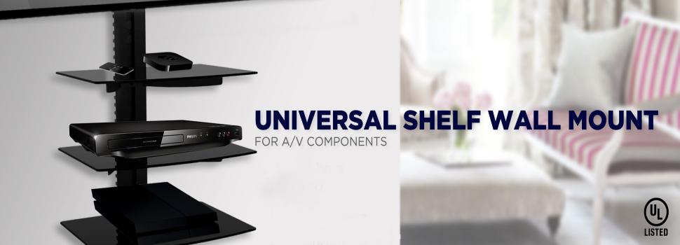 QualGear® UL Listed Universal Single Shelf Wall Mount for A/V Components, Black (QG-DB-001-BLK)
