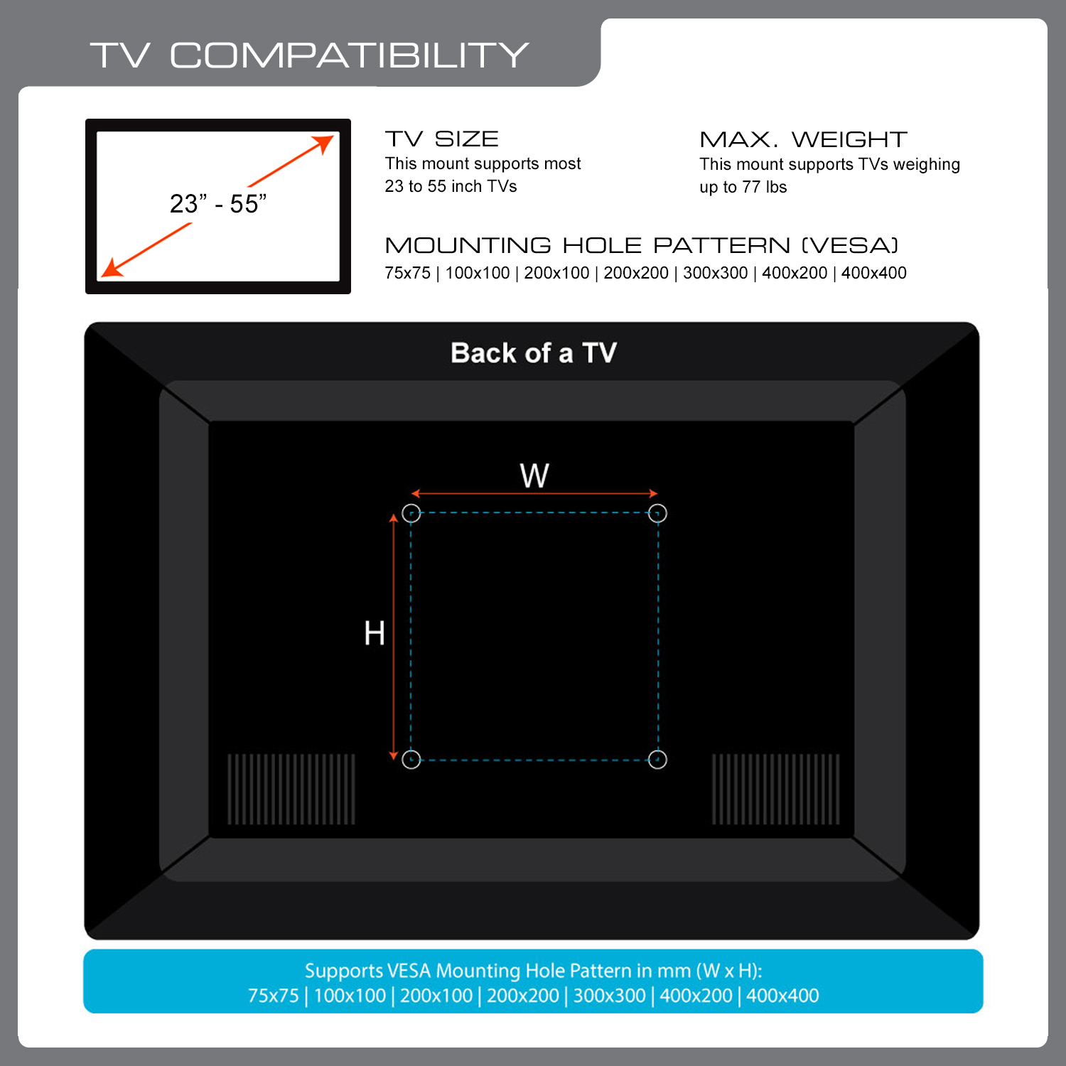 QualGear QG-TM-004-WHT 23-Inch to 55-Inch Premium Quality Contemporary Style Ultra Low Profile Full Motion TV Wall Mount LED TVs, White [UL Listed]