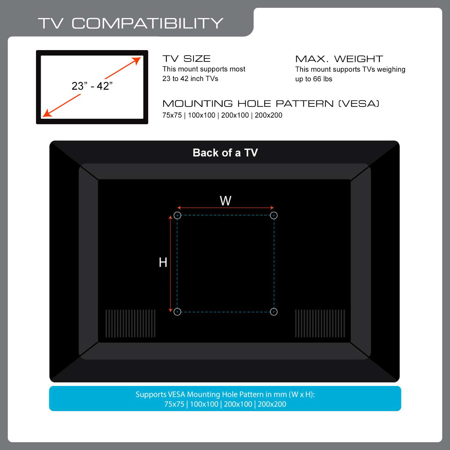 QualGear QG-TM-005-WHT 23-Inch to 42-Inch Premium Quality Contemporary Style Ultra Low Profile Full Motion TV Wall Mount LED TVs, White [UL Listed]