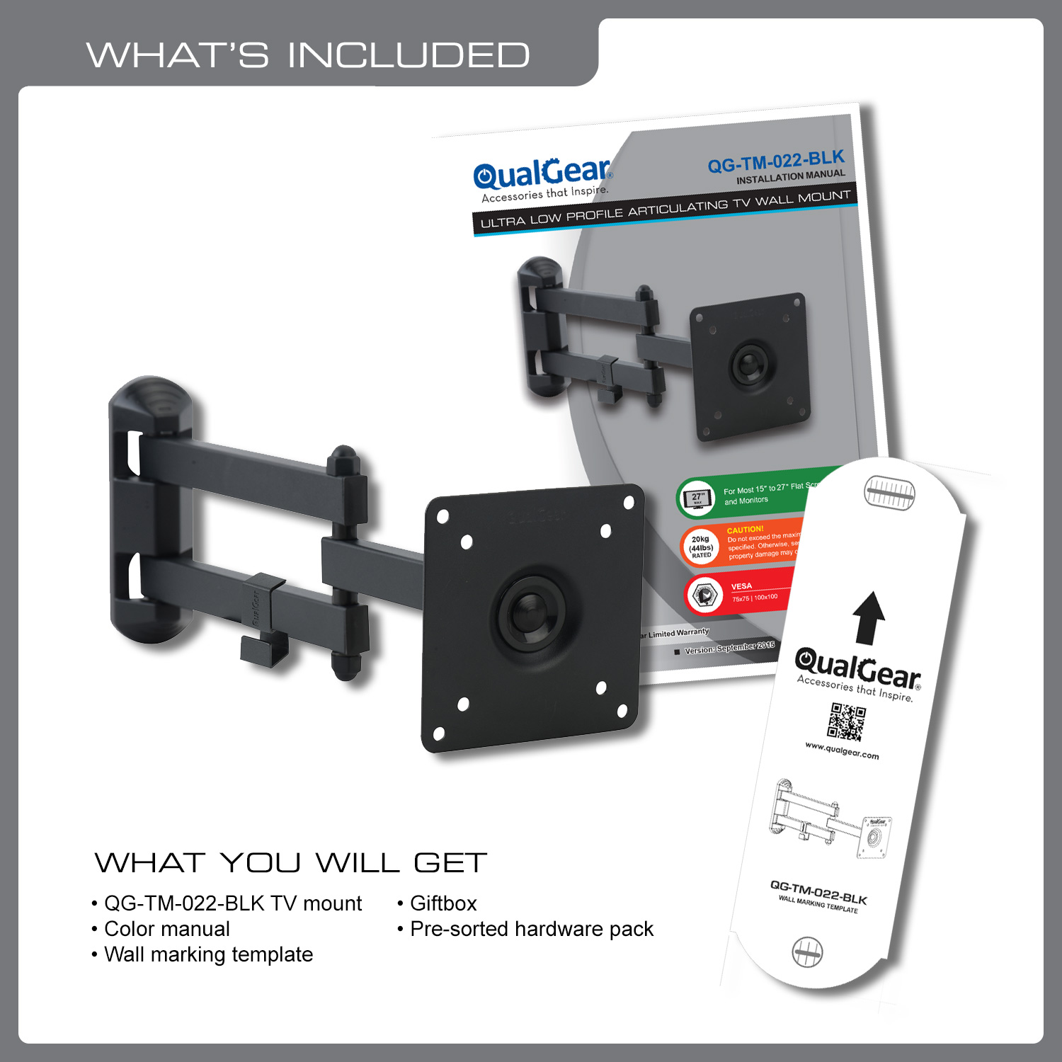 QualGear® QG-TM-022-BLK Articulating TV Wall Mount 15-27 Inch, Black