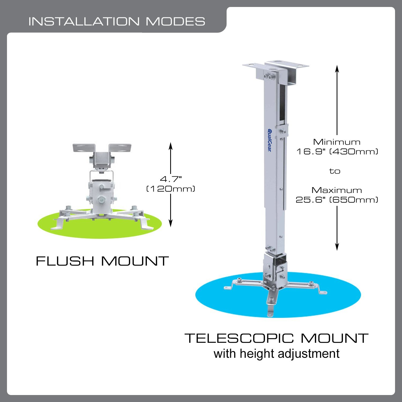 QualGear QG-PM-002-WHT Universal Projector Ceiling Mount, White