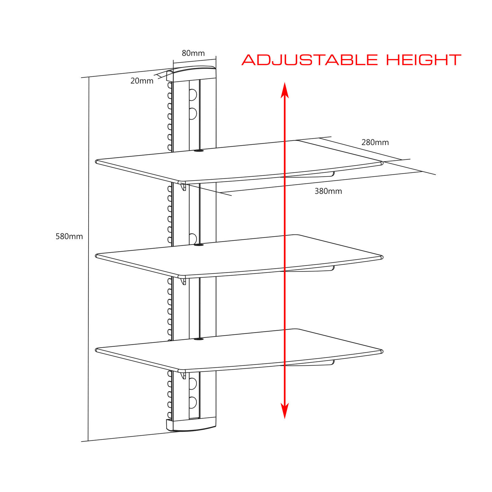 QualGear Universal Triple Shelf Wall Mount for A/V Components upto 8kgs/17.6lbs(x3), Black (QG-DB-003-BLK)