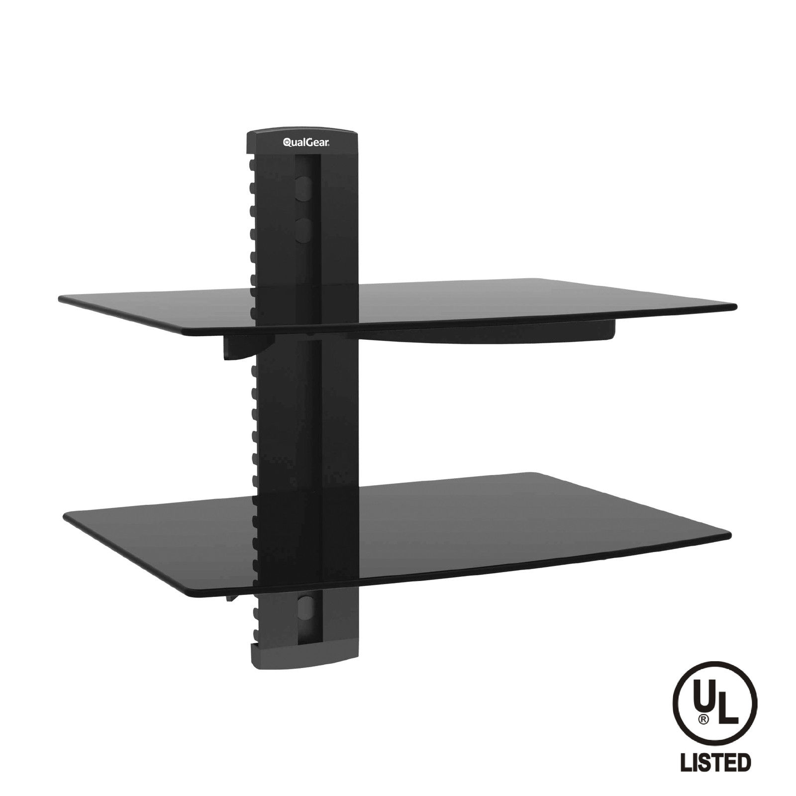 QualGear® Universal Dual Shelf Wall Mount for A/V Components upto 8kgs/17.6lbs(x2), Black (QG-DB-002-BLK)