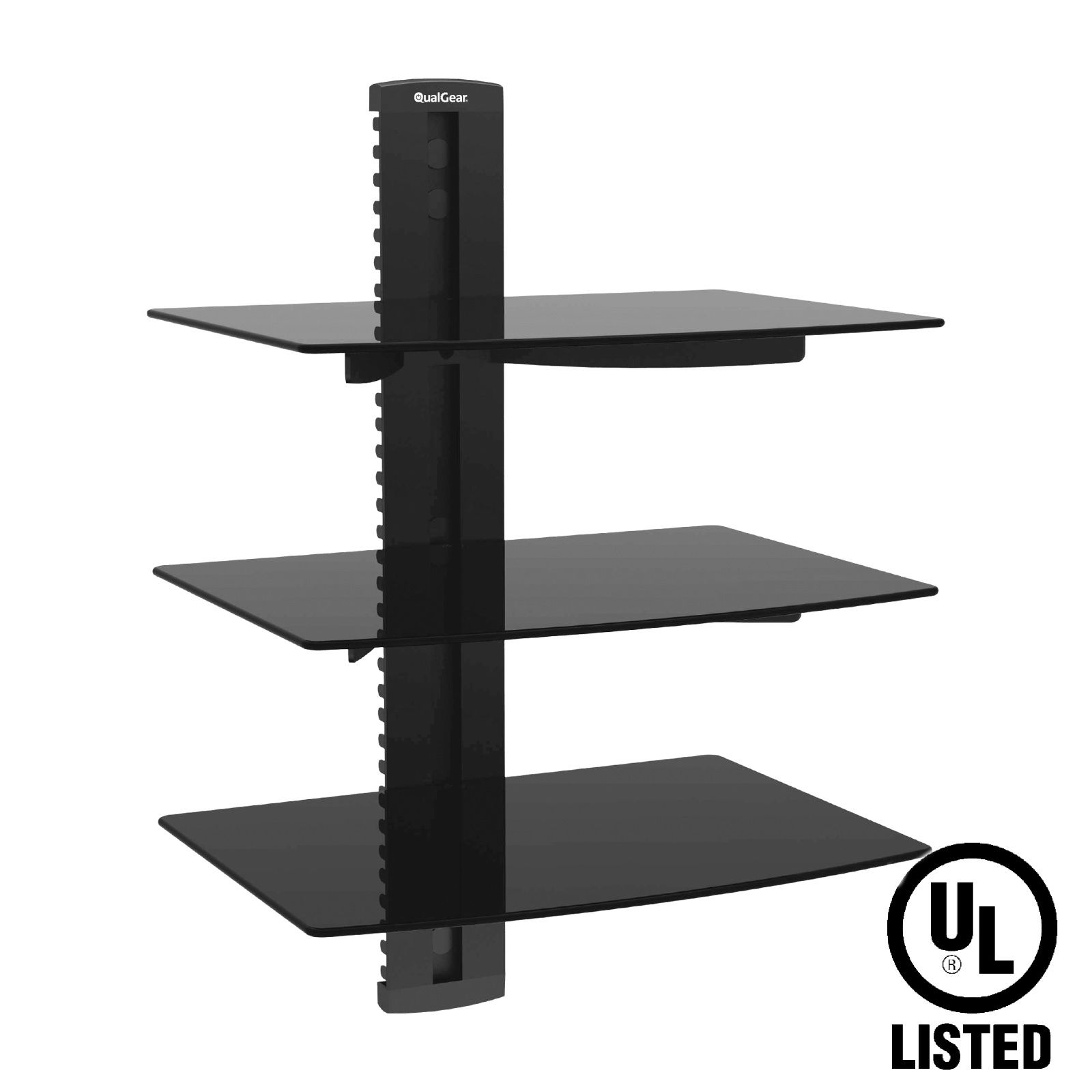 QualGear® Universal Triple Shelf Wall Mount for A/V Components upto 8kgs/17.6lbs(x3), Black (QG-DB-003-BLK)