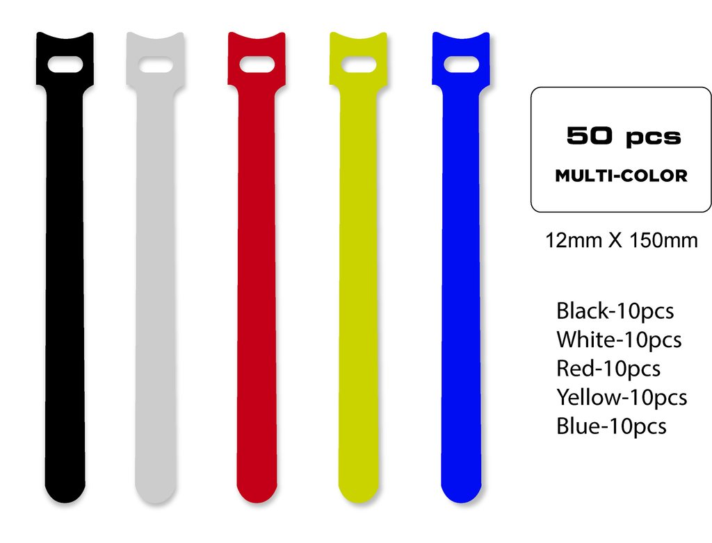 QualGear VT1-MC-50-P Self-Gripping cable ties, 1/2 x 6 Inches, Assorted, 50 Ties in Poly Bag Style.