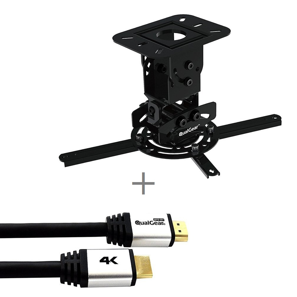 QualGear PRB-717-BLK-50FT Projector Ceiling Mount Bundle with HDMI Type A Male to Type A Male Cable, 50' Black