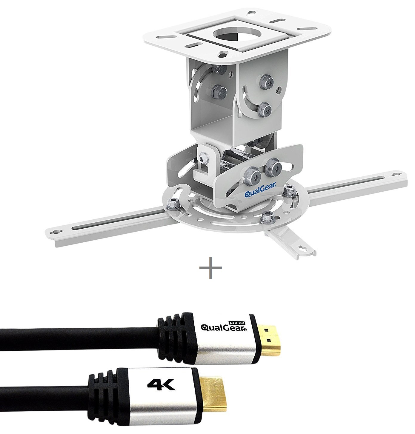 QualGear PRB-717-WHT-25FT Projector Ceiling Mount Bundle with HDMI Type A Male to Type A Male Cable, 25' Black