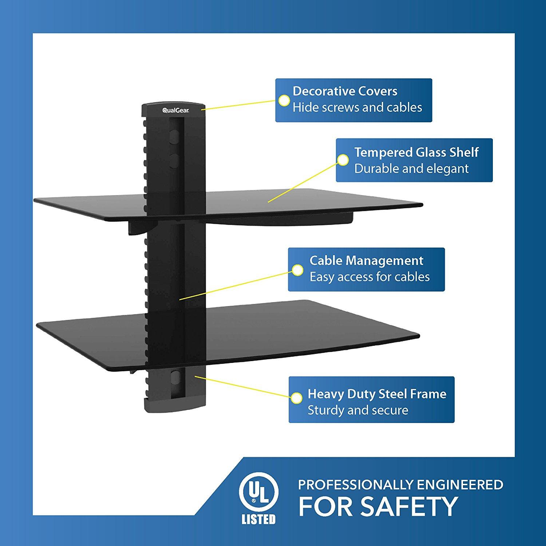 QualGear Universal Dual Shelf Wall Mount for A/V Components upto 8kgs/17.6lbs(x2), Black (QG-DB-002-BLK)