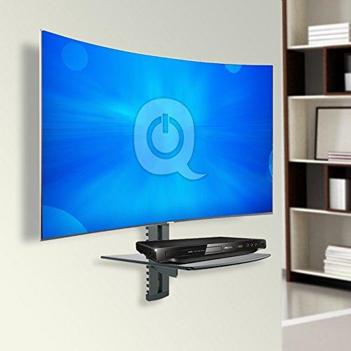 QualGear UL Listed Universal Single Shelf Wall Mount for A/V Components, Black (QG-DB-001-BLK)