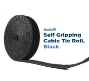 QualGear VR1-B-1-P Self Gripping Cable Ties, 3/4-Inch, x 15-Feet, Black, 1 Roll/Poly Bag