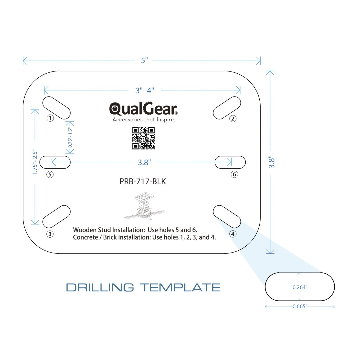 QualGear PRB-717-BLK Universal Ceiling Mount Projector Accessory