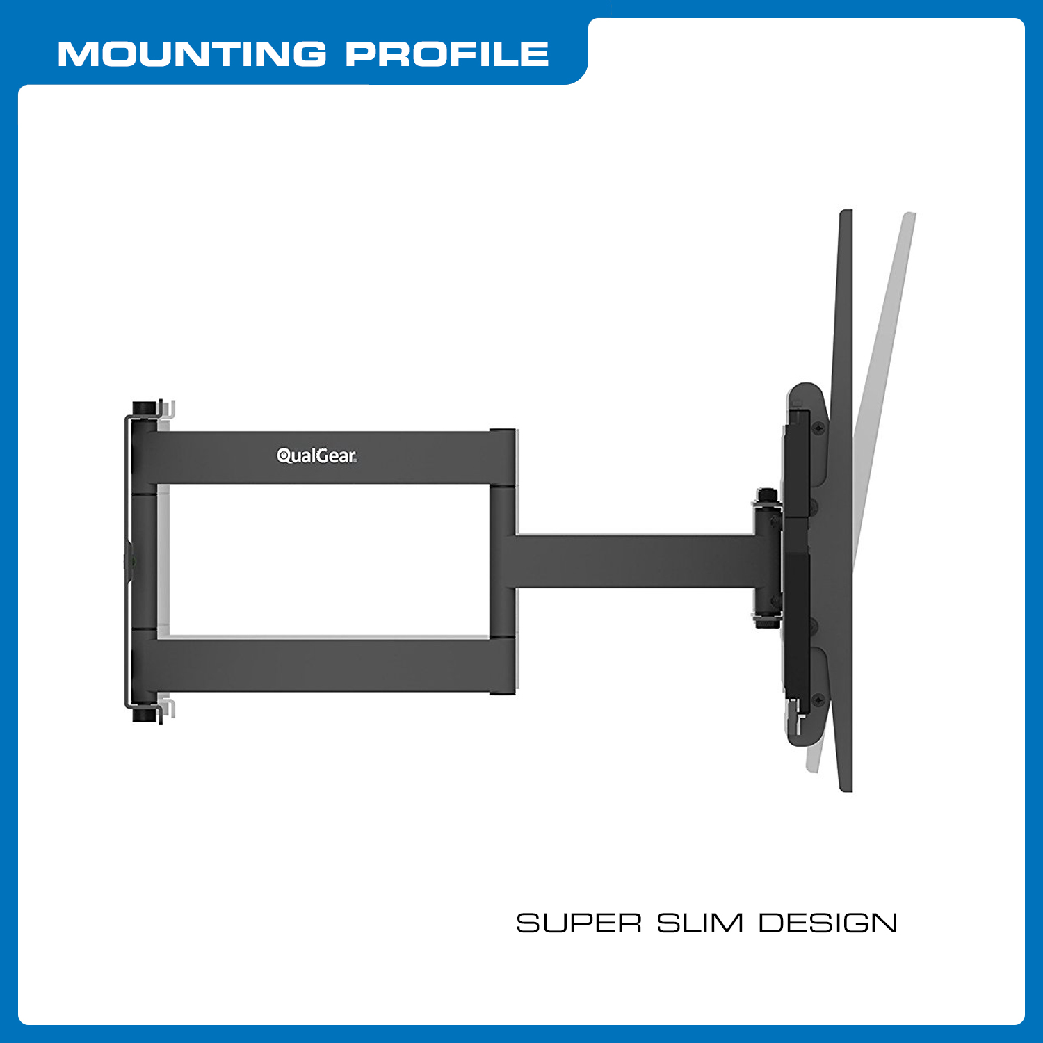 QualGear® Heavy Duty Full Motion TV Mount For 37-70 Inch Flat Panel and Curved TVs, Black (QG-TM-032-BLK) [UL Listed]