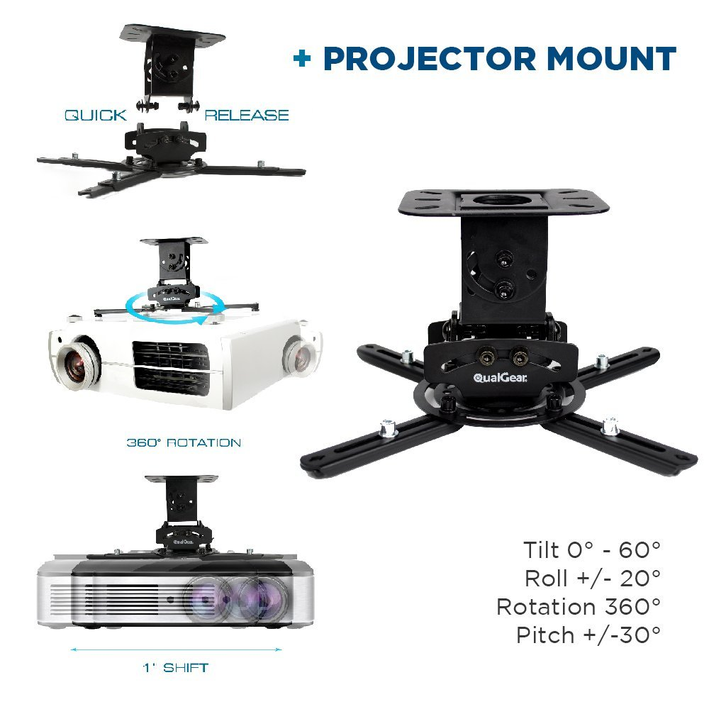 QualGear PRB-717-BLK-110W-25FT Projector Ceiling Mount Bundle with 110