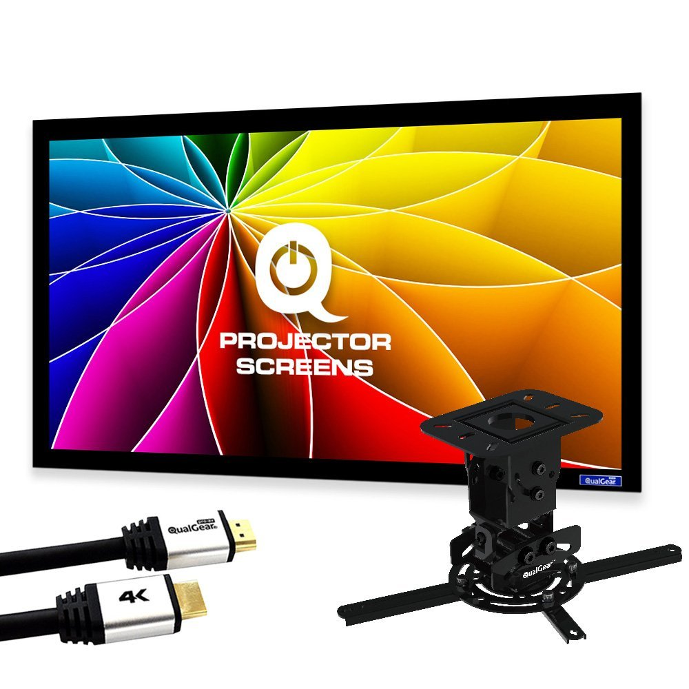 QualGear PRB-717-BLK-120W-25FT Projector Ceiling Mount Bundle with 120