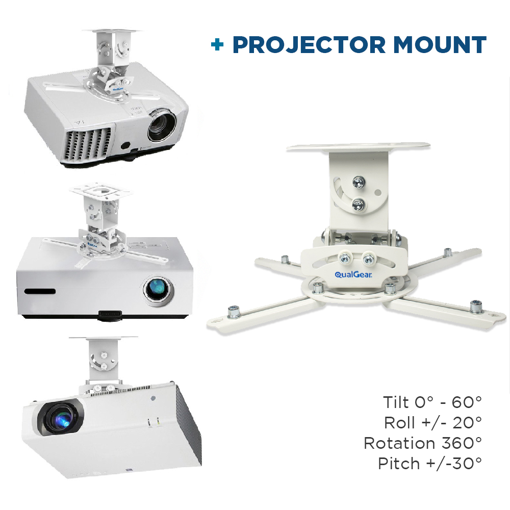 QualGear PRB-717-WHT-50FT Projector Ceiling Mount Bundle with HDMI Type A Male to Type A Male Cable, 50' Black