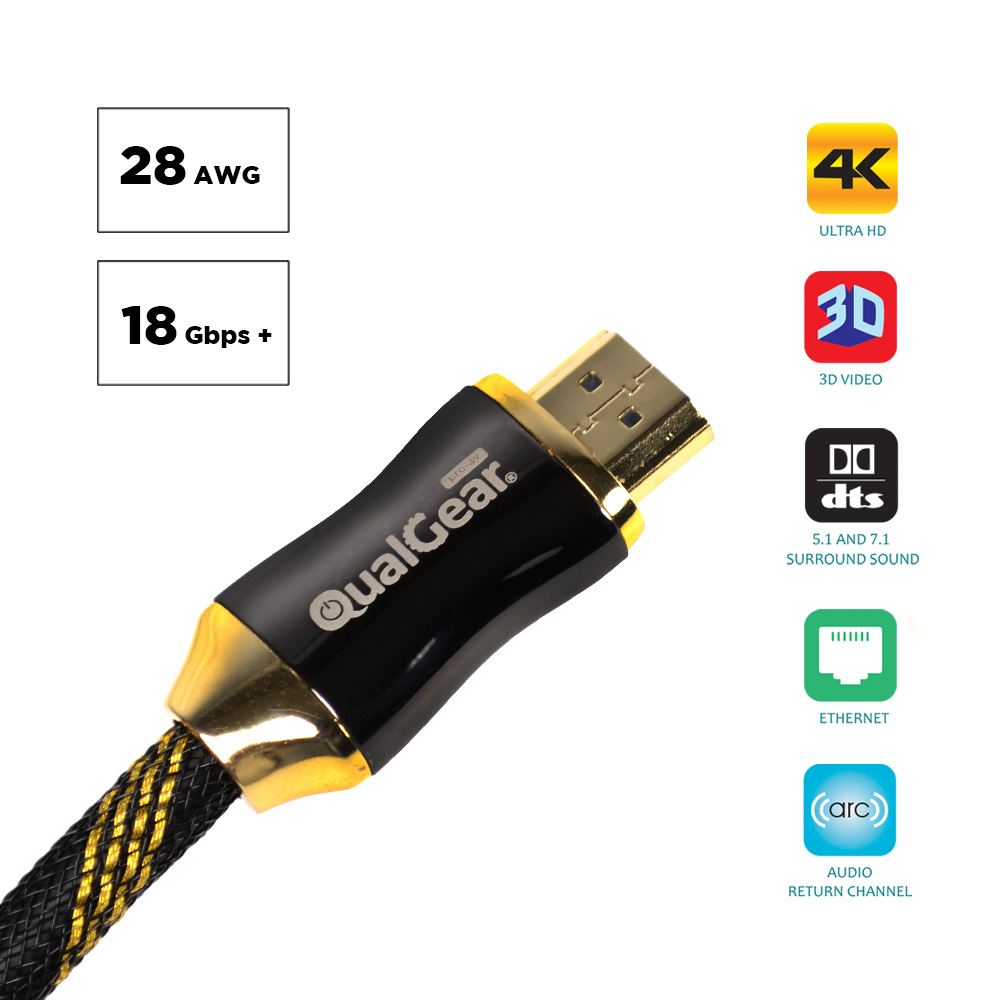 QualGear® 6 Feet High Speed HDMI Premium Certified 2.0b cable with 24K Gold Plated Contacts, Supports 4K Ultra HD, 3D, 18Gbps, Audio Return Channel,100% OFC Copper, Ethernet (QG-PCBL-HD20-6FT)