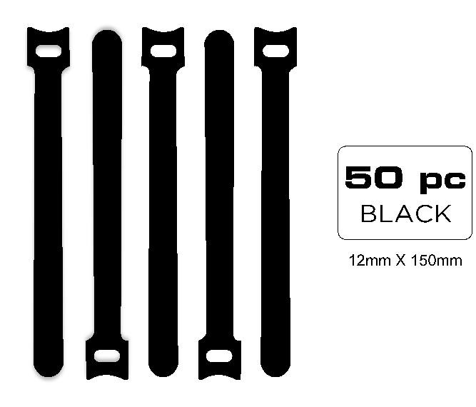 QualGear  VT2-B-50-P Self Gripping Cable Ties, 1/2 x 6 Inches, Black 50 Ties in Poly Bag