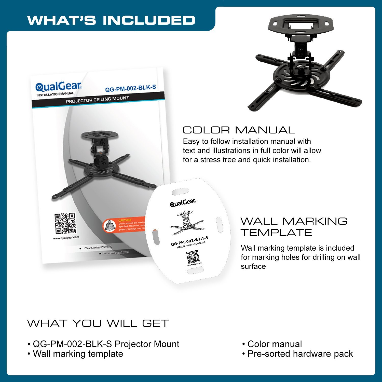 QualGear QG-PM-002-BLK-S Universal Projector Ceiling Mount, Short, Black