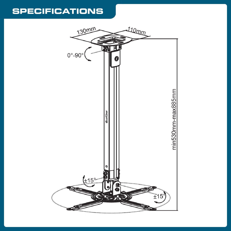 QualGear QG-PM-002-WHT-L Universal Projector Ceiling Mount, Long, White