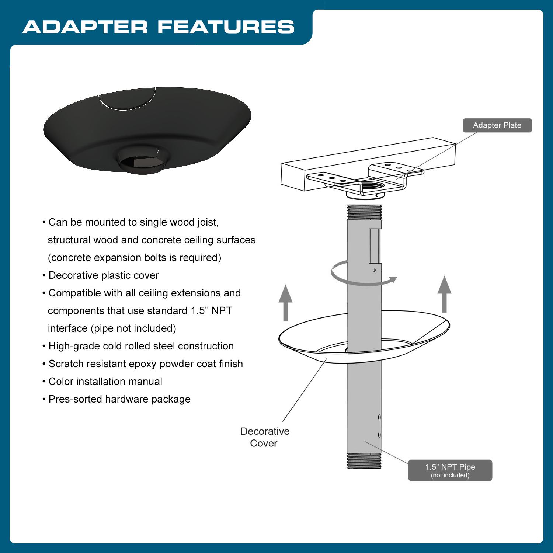 Qualgear Pro Av Qg Kit Ca 3in B Projector Mounting Kit Pr