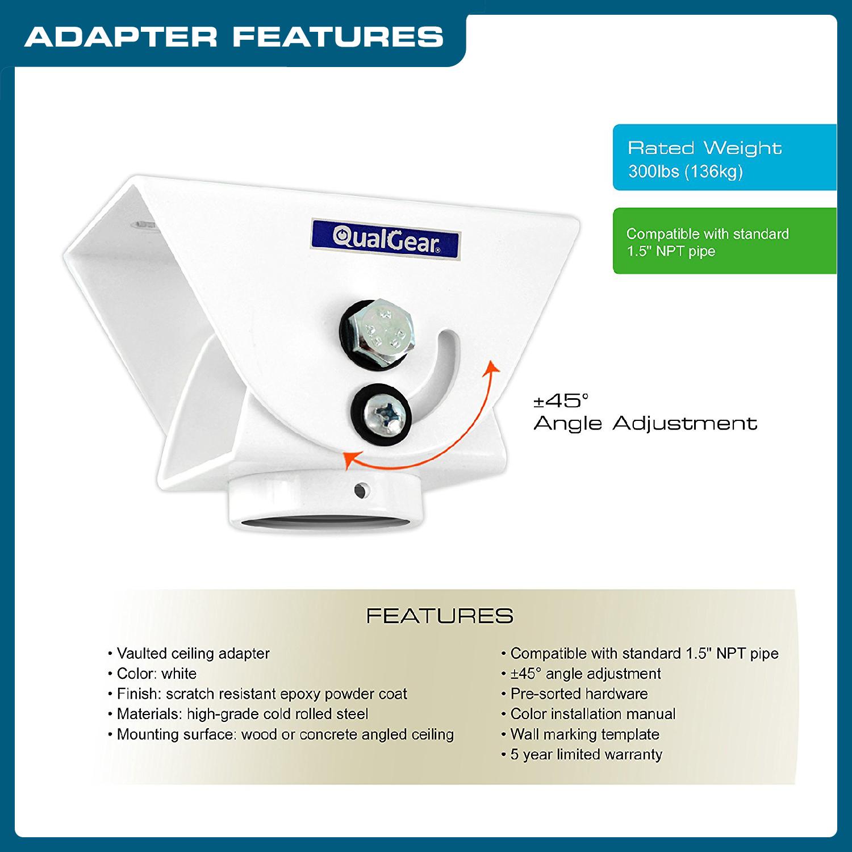 QualGear® Pro-AV QG-KIT-VA-3IN-W Projector Mounting Kit - Projector Mount, Vaulted Ceiling ...