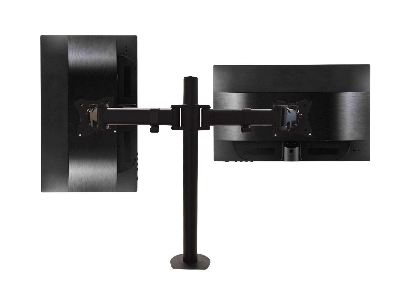 QualGear® QG-DM-02-22 13-27 Inch 3-Way Articulating Dual Monitor Desk Mount