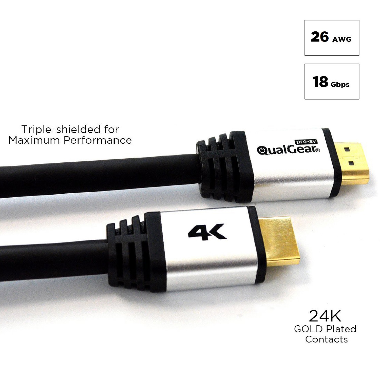 QualGear 30 Ft High-Speed Long HDMI 2.0 Cable with 24K Gold Plated Contacts, Supports 4K Ultra HD, 3D, 18 Gbps, Audio Return Channel,CL3 Rated for In-Wall Use (QG-CBL-HD20-30FT)
