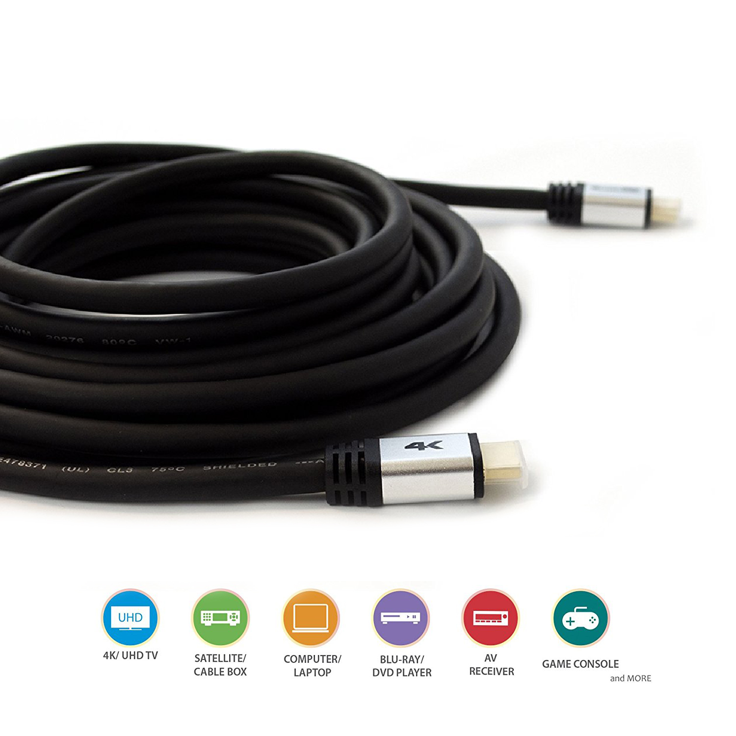 Qualgear 174 40 Ft High Speed Long Hdmi 2 0 Cable With 24k