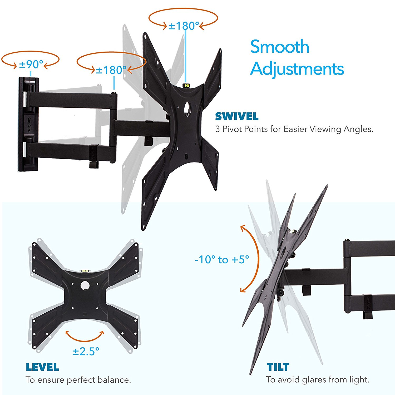 QualGear QG-TM-021-BLK Universal Ultra Slim Low Profile Articulating TV Wall Mount Kit for most 23-inch to 47-inch and some 55-inch LED TVs, w/ HDMI v2.0 Cable 6 ft