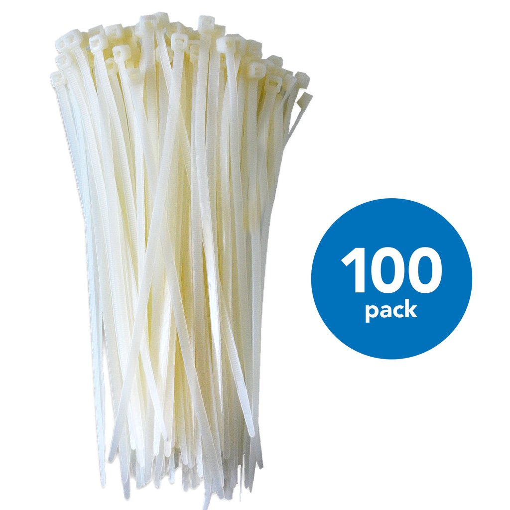 QualGear CT4-W-100-P 8-Inch Self-Locking Cable Ties - White (Pack of 100)
