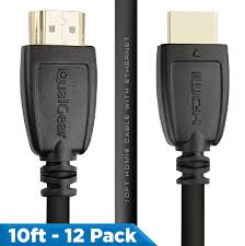 Qualgear 10 Feet-12 Pack HDMI 2.0 cable with 24k Gold Plated Contacts, Supports 4k Ultra HD, 3D, Upto 18Gbps, Ethernet, 100% OFC (QG-CBL-HD20-10FT-12PK)