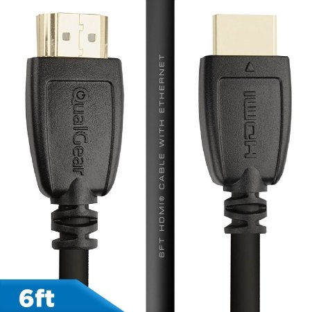 Qualgear 6 Feet High Speed HDMI 2.0 cable with 24k Gold Plated Contacts, Supports 4k Ultra HD, 3D, Upto 18Gbps, Ethernet, 100% OFC (QG-CBL-HD20-6FT)
