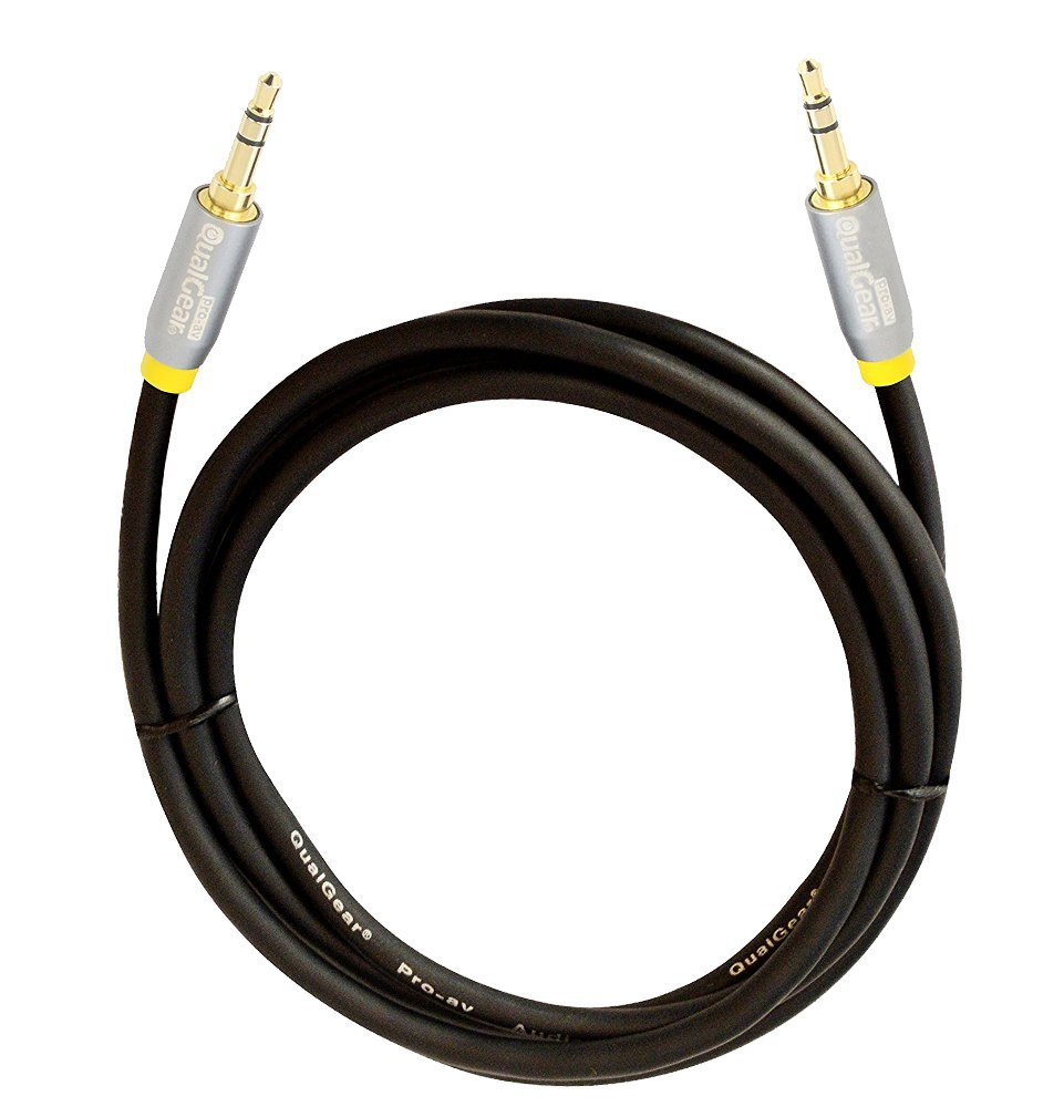 QualGear 100% OFC Copper, Gold Plated Contacts, 3.5mm Male to 3.5mm Male Premium Auxiliary Stereo Audio Cable - 3.5mm Male to 3.5mm Male - 4' Black (QG-ACBL-4FT)