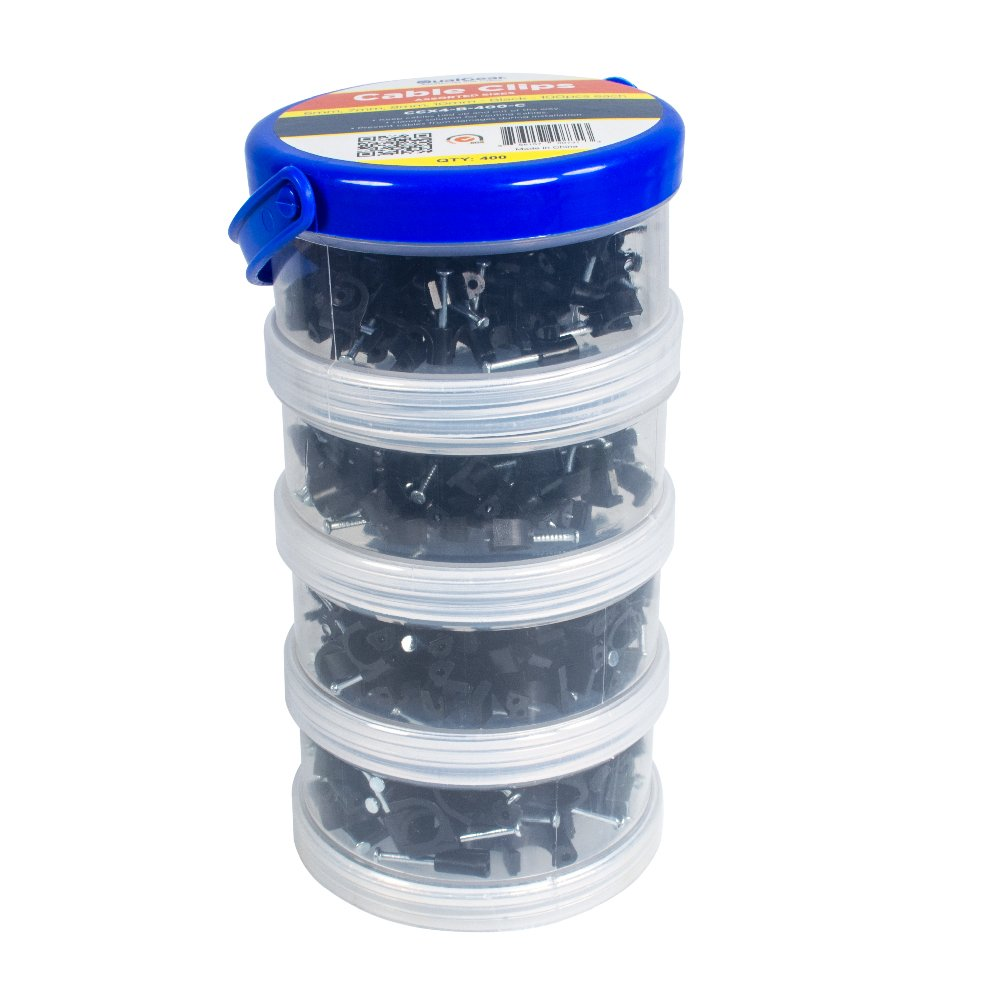 QualGear 6mm 7mm 8mm 10mm Cable Clips, Black, 400-Pack, Canister, CCX4-B-400-C