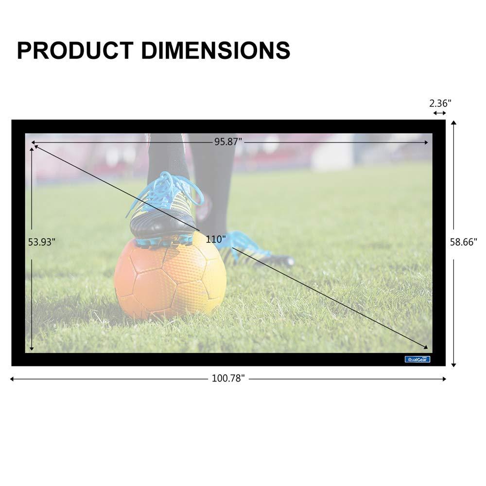QualGear QG-PS-FF6-169-110-W 16:9 Fixed Frame Projector Screen, 110-Inch, 4K HD Ultra White 1.2 Gain