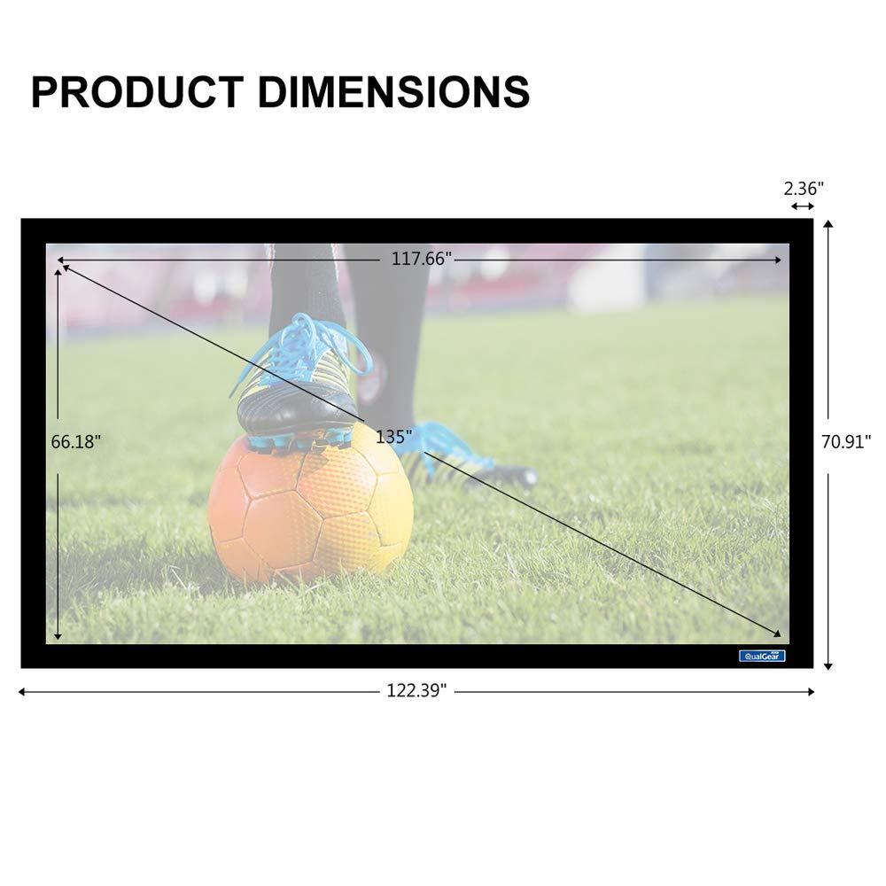 QualGear QG-PS-FF6-169-135-G 16:9 Fixed Frame Projector Screen, 135-Inch High Contrast Gray 0.9 Gain