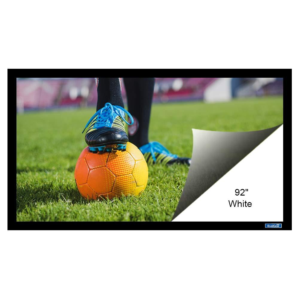 QualGear 92-Inch Fixed Frame Projector Screen, 16:9 4K HD Ultra White at 1.2 Gain (QG-PS-FF6-169-92-W)