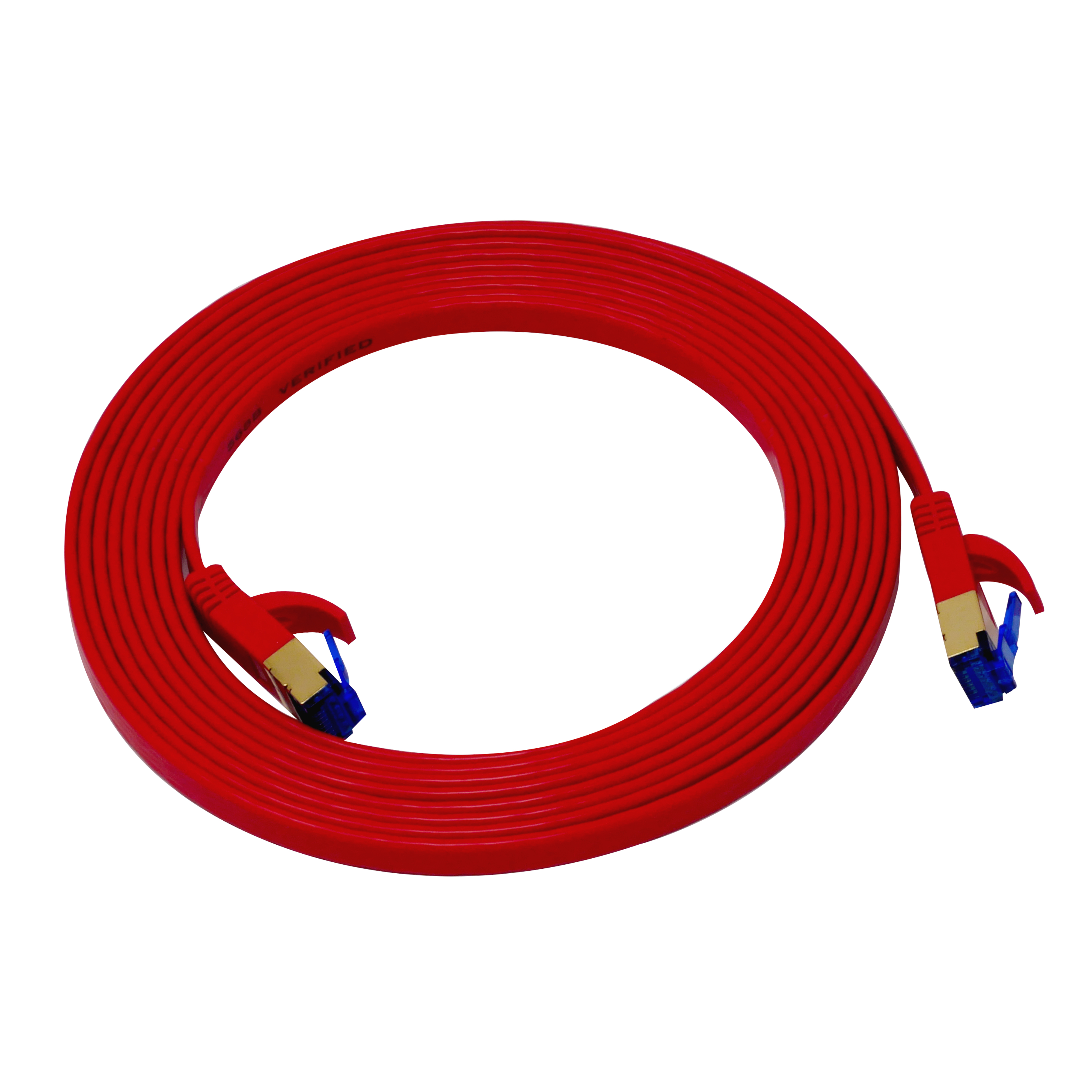 QualGear QG-CAT7F-10FT-RED CAT 7 S/FTP Ethernet Cable Length 10 feet - 26 AWG, 10 Gbps, Gold Plated Contacts, RJ45, 99.99% OFC Copper, Color Red