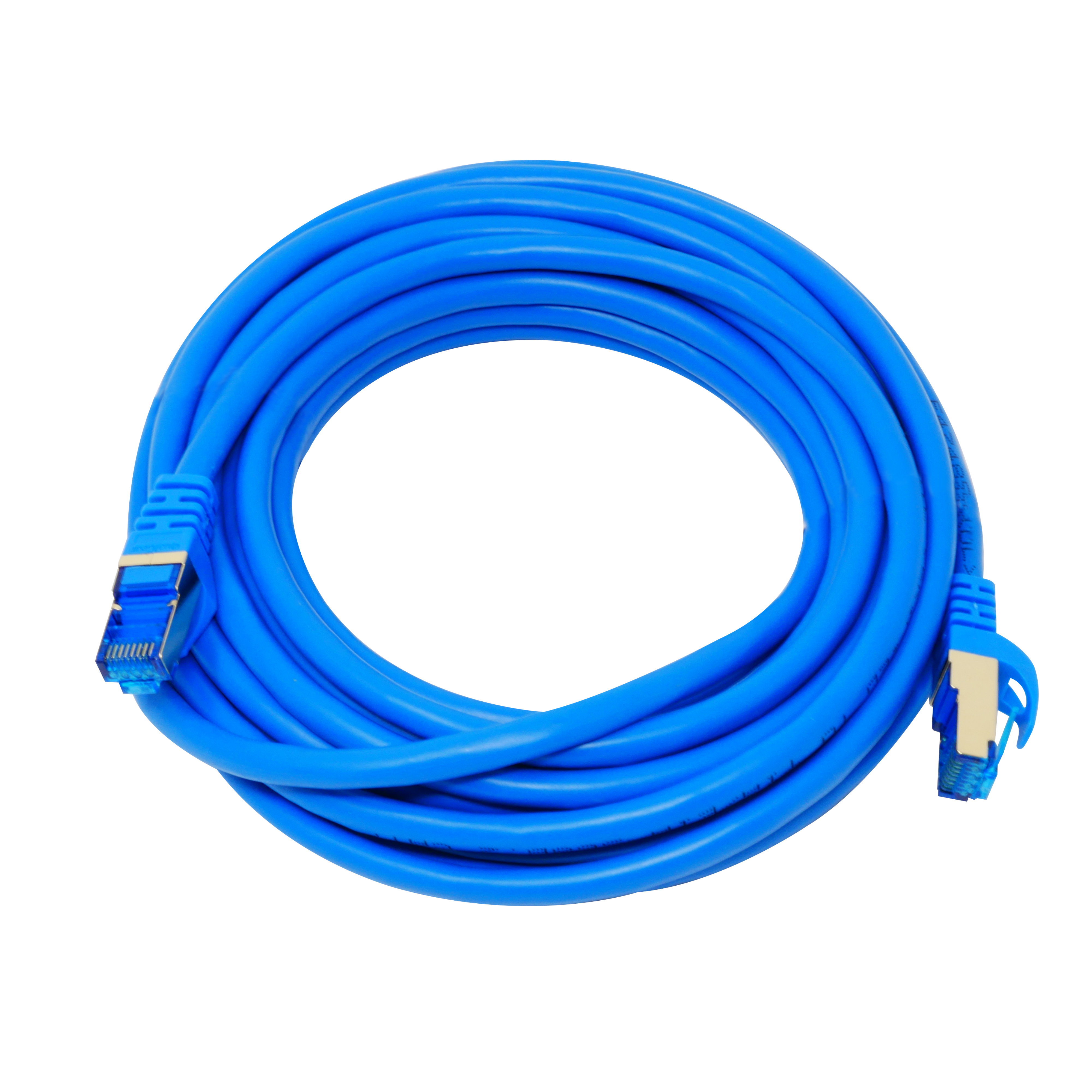 QualGear QG-CAT7R-20FT-BLU CAT 7 S/FTP Ethernet Cable Length 20 feet - 26 AWG, 10 Gbps, Gold Plated Contacts, RJ45, 99.99% OFC Copper, Color Blue
