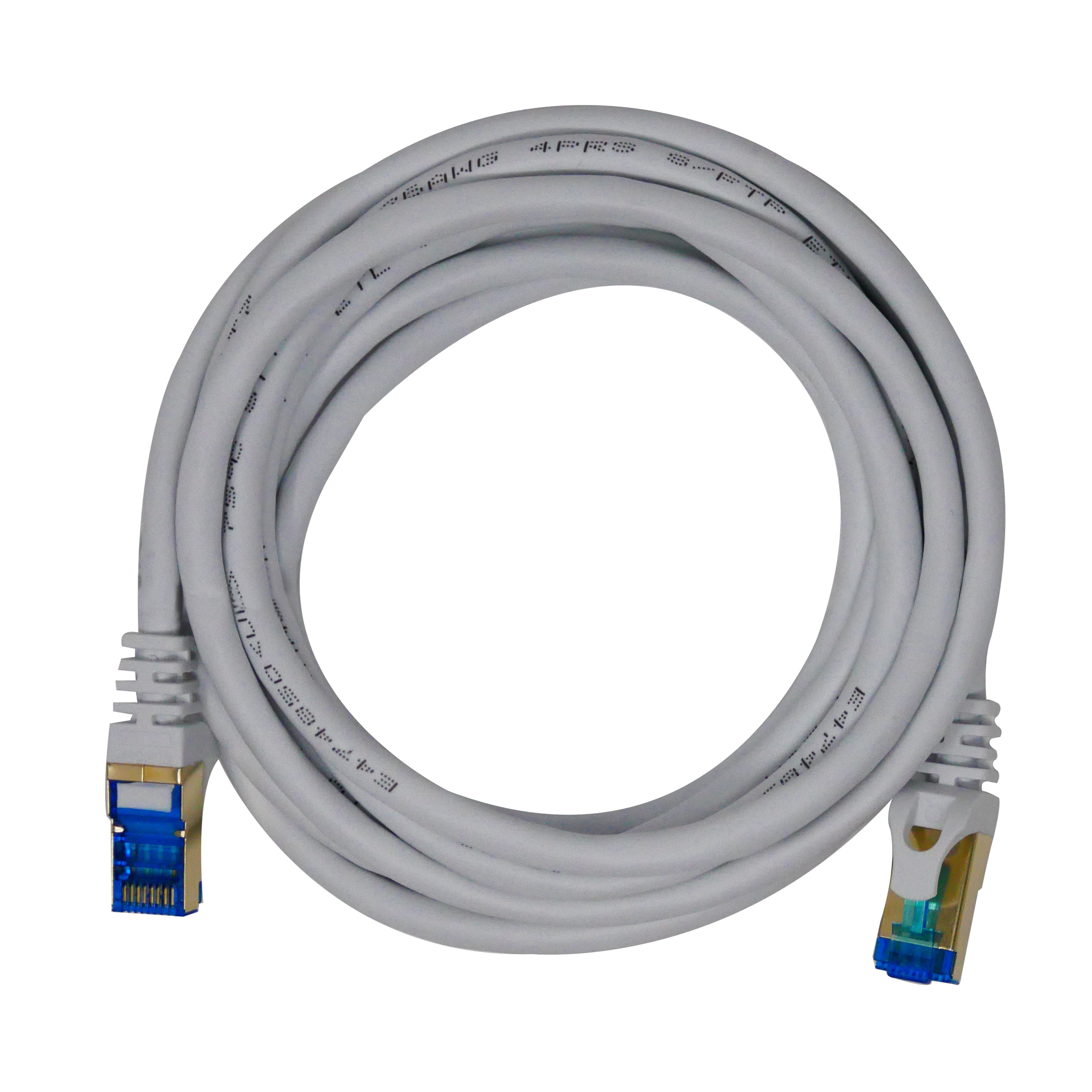 QualGear QG-CAT7R-6FT-WHT CAT 7 S/FTP Ethernet Cable Length 6 feet - 26 AWG, 10 Gbps, Gold Plated Contacts, RJ45, 99.99% OFC Copper, Color White