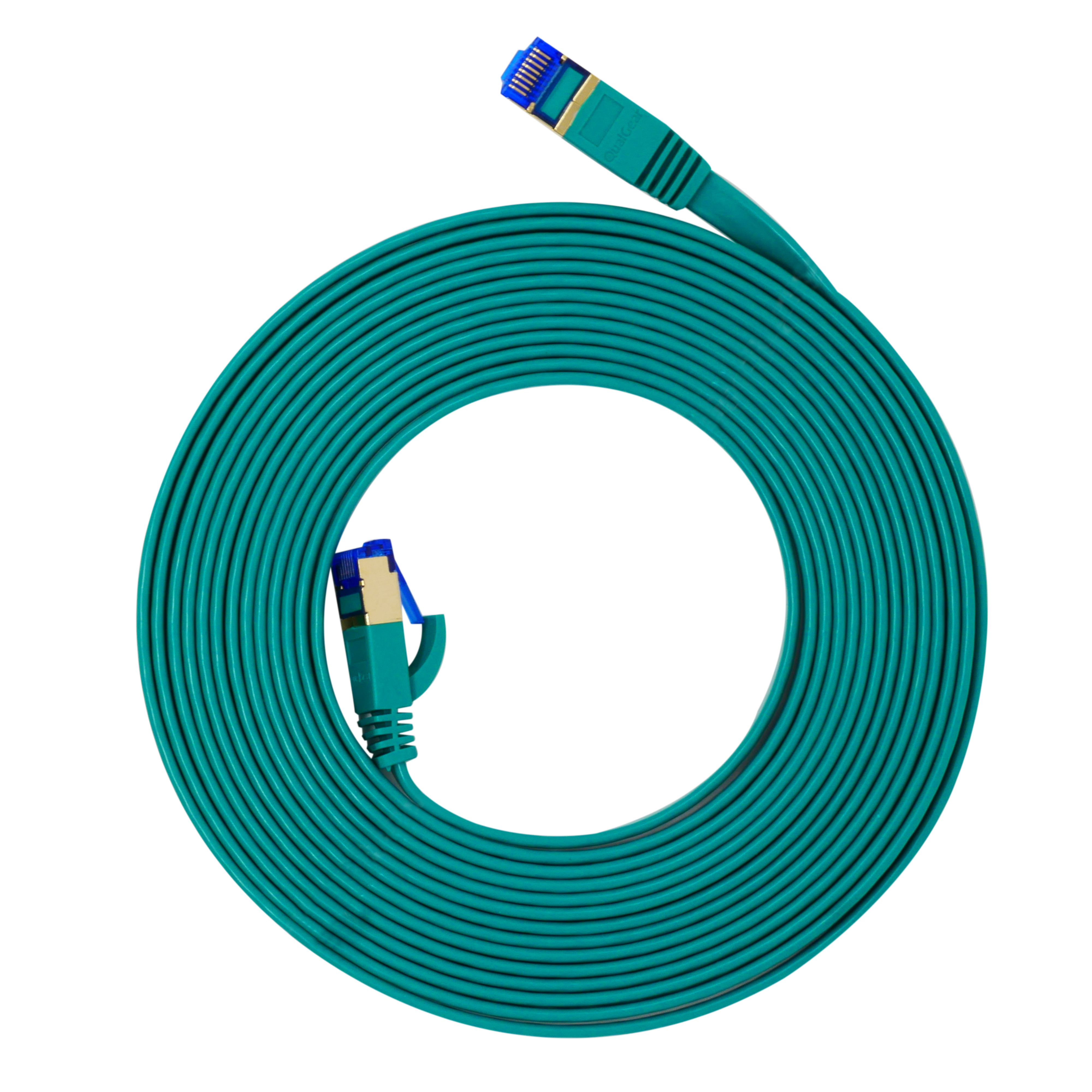 QualGear QG-CAT7F-15FT-GRN CAT 7 S/FTP Ethernet Cable Length 15 feet - 26 AWG, 10 Gbps, Gold Plated Contacts, RJ45, 99.99% OFC Copper, Color Green