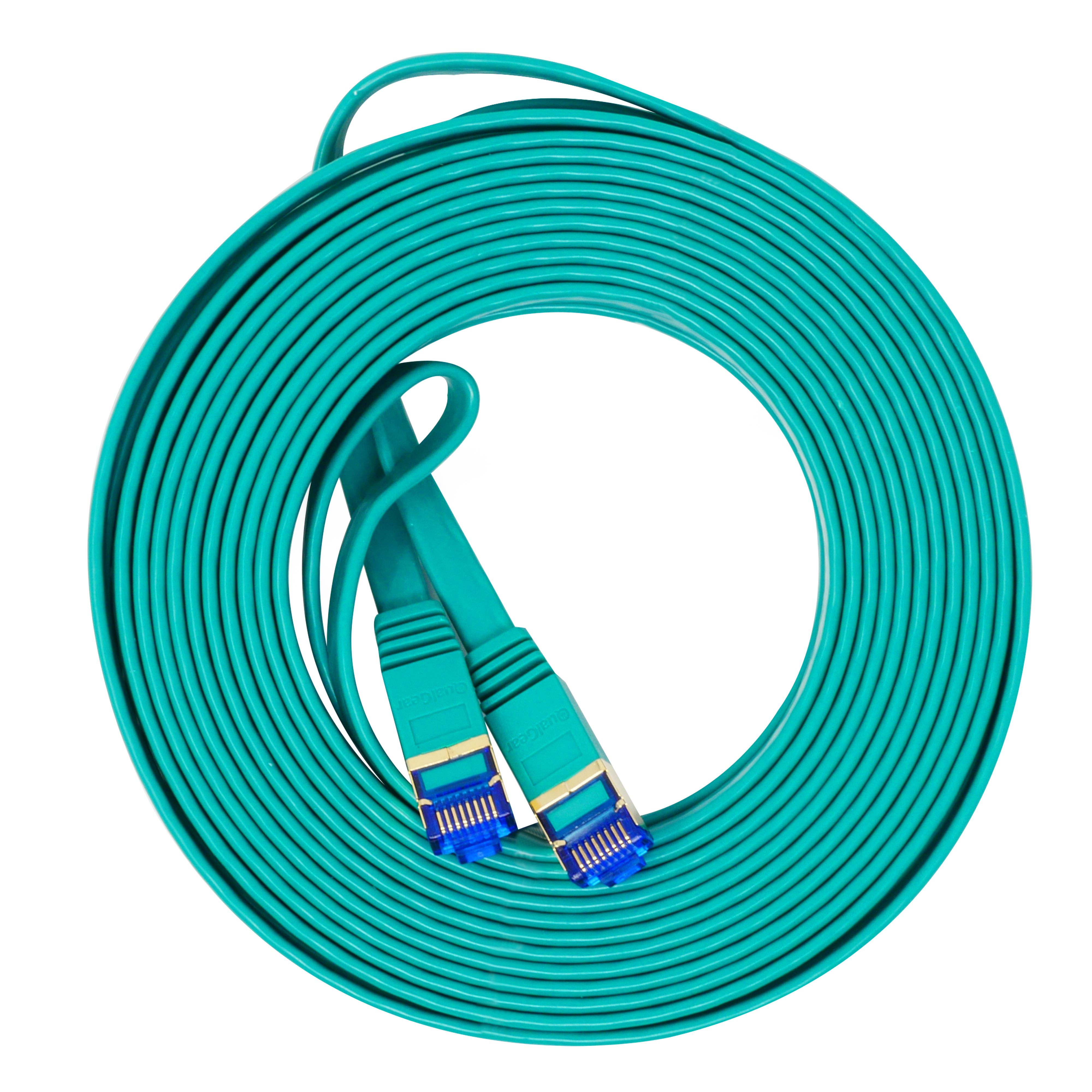 QualGear QG-CAT7F-25FT-GRN CAT 7 S/FTP Ethernet Cable Length 25 feet - 26 AWG, 10 Gbps, Gold Plated Contacts, RJ45, 99.99% OFC Copper, Color Green