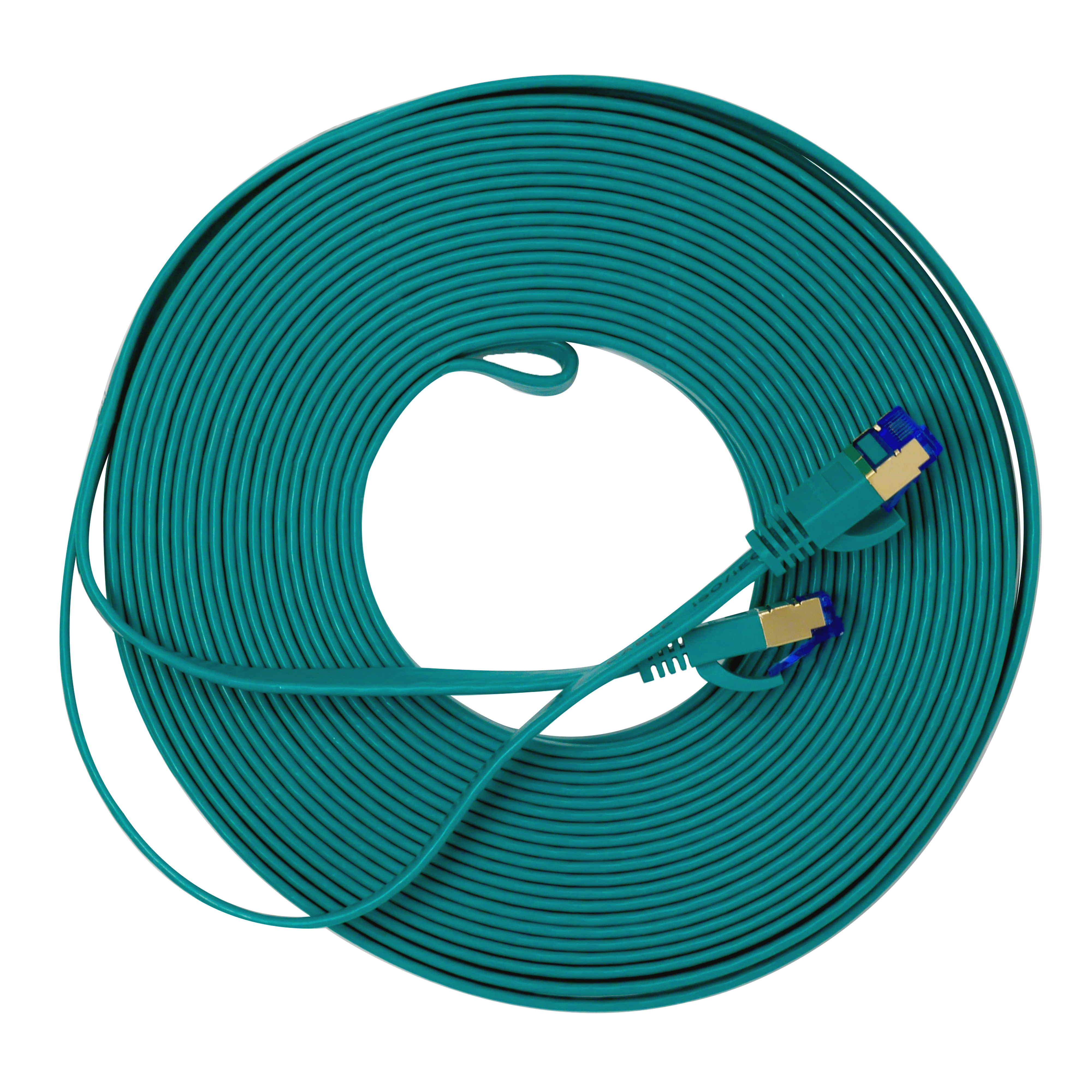 QualGear QG-CAT7F-50FT-GRN CAT 7 S/FTP Ethernet Cable Length 50 feet - 26 AWG, 10 Gbps, Gold Plated Contacts, RJ45, 99.99% OFC Copper, Color Green